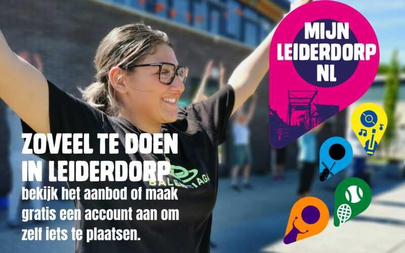 actieve vrouw met logo mijnleiderdorp.nl